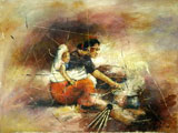 Daily life painting of Nepal